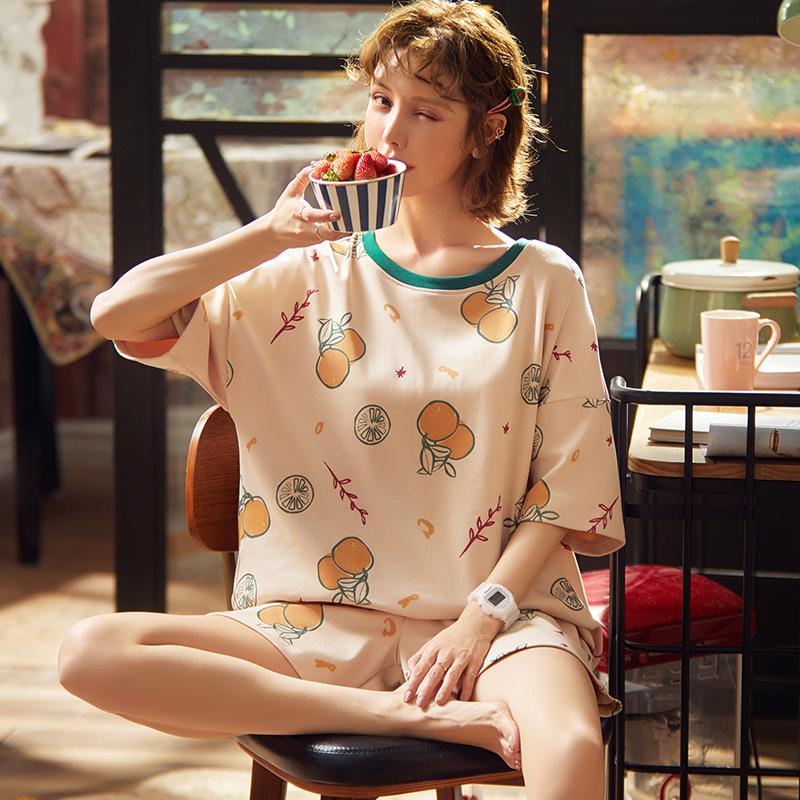 夏天纯棉睡衣女夏短袖短裤两件套学生可爱韩版薄款甜美卡通ins