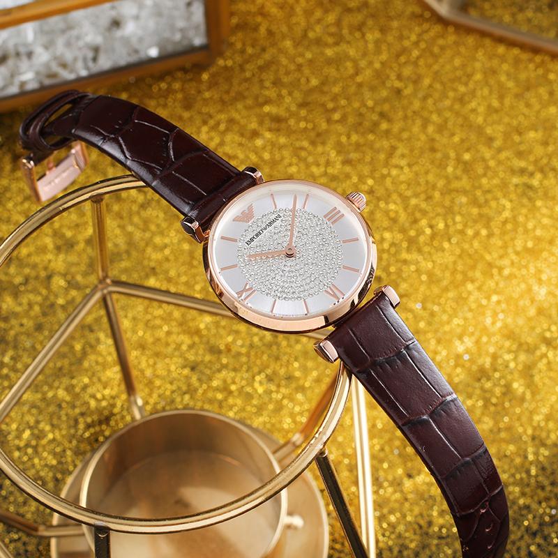 Armani阿玛尼手表女 新款满天星时尚镶钻皮带石英女表AR11269