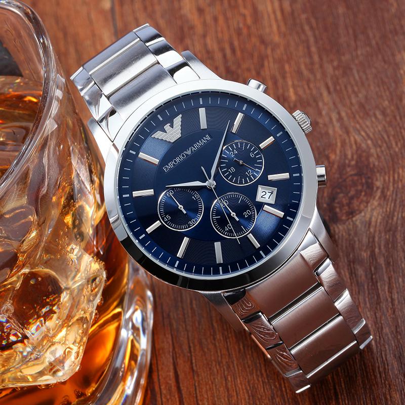 Armani阿玛尼正品经典不锈钢带手表男 多功能防水石英表男AR2448