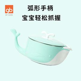 gb好孩子婴幼儿带盖注水保温碗不锈钢宝宝辅食碗儿童餐具碗勺套装