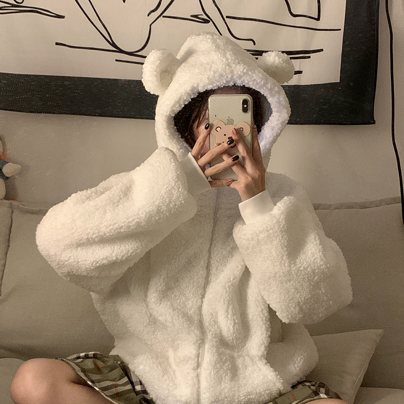 秋冬2019新款甜美可爱小熊耳朵仿羊羔毛减龄拉链长袖宽松外套女装