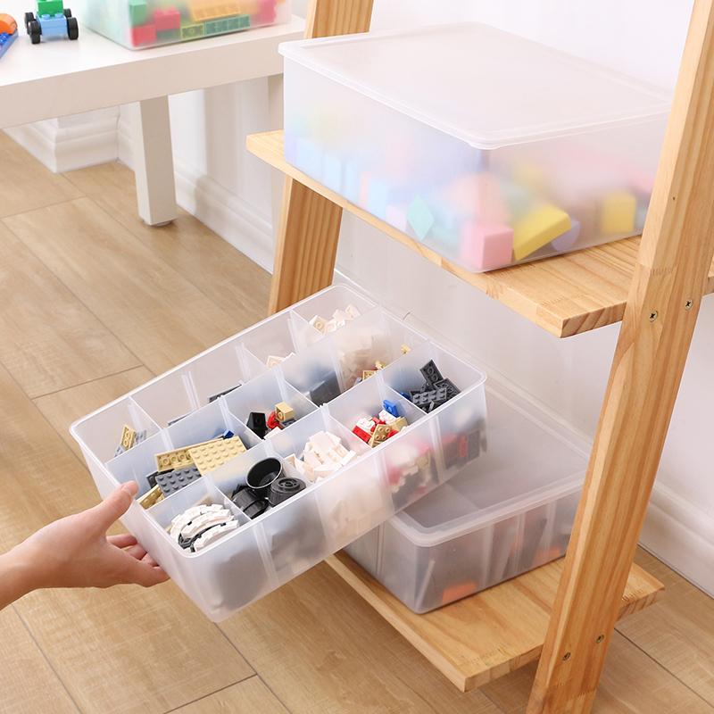 透明塑料收納盒兒童樂高玩具積木分隔零件分類格子儲物整理箱