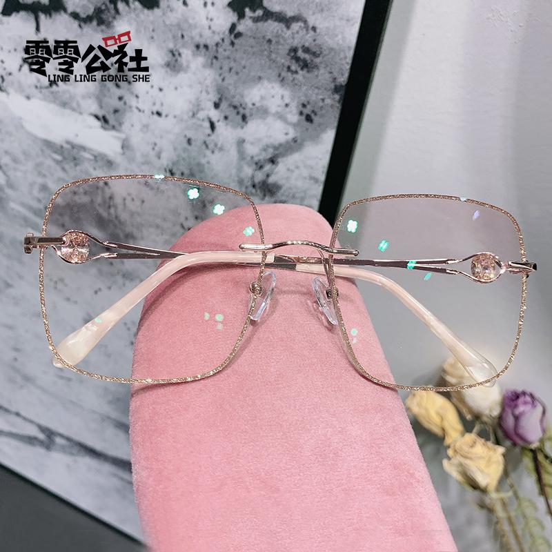 小红书韩版潮水钻近视眼镜女可配有度数无框钻石切边眼睛架网红款