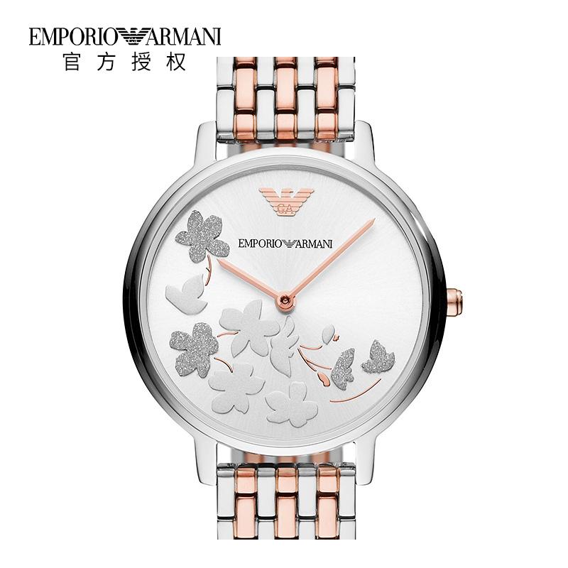 Armani阿玛尼新品双色钢带时尚女表优雅印花小表盘石英表AR11113