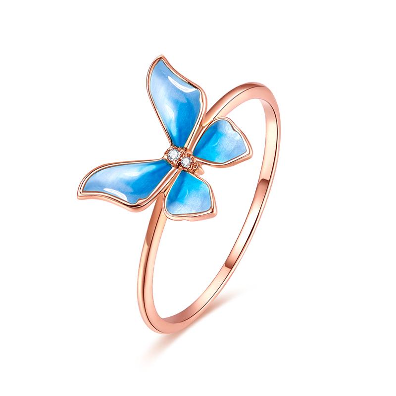 玫瑰金蝴蝶钻戒彩金戒指环珐琅送女友 au750 金钻石戒指女 MSTAR18K