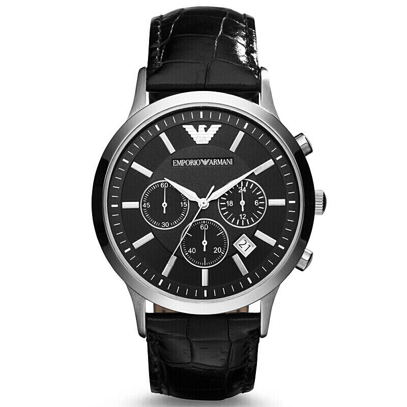 Armani官方阿玛尼黑色皮带手表男 多功能时尚防水男士表潮AR2447