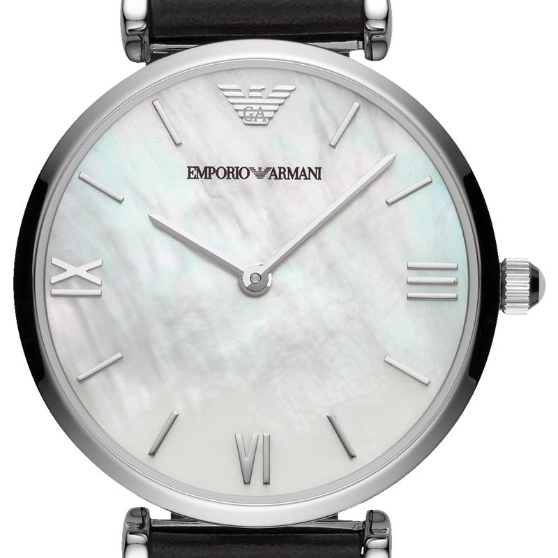 阿玛尼 Emporio Armani 手表 皮质表带时尚石英情侣腕表AR90003