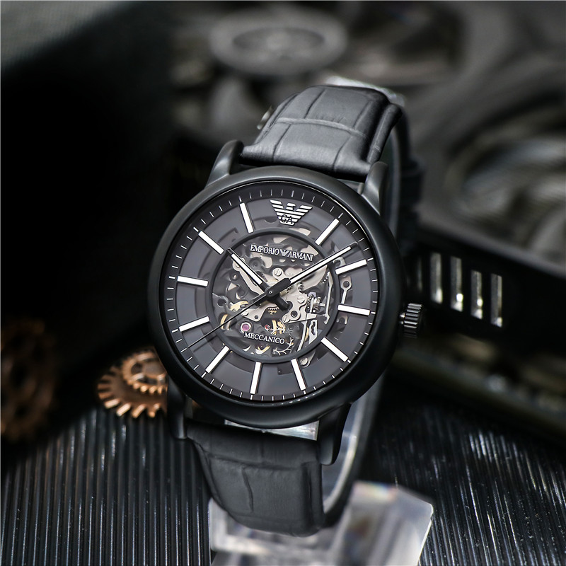 Armani阿玛尼手表男时尚黑武士镂空机械表皮带腕表AR60008AR60007
