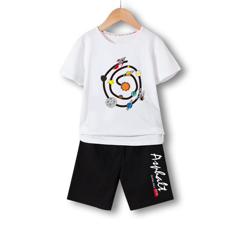 男童短袖套装夏2021新款中大童棉男童裤子短裤潮韩版套装两件套