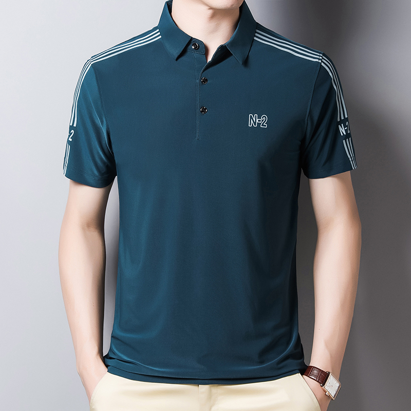 男士短袖T恤衫夏季薄款男装翻领t恤青年商务休闲冰丝POLO衫