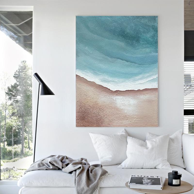 原創手繪 | 北歐輕奢風手工油畫抽象客廳裝飾畫海邊玄關豎版掛畫
