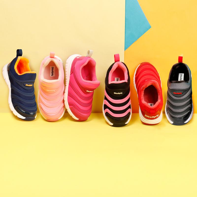 加绒透气,EVA柔软缓震:嘟比猪 儿童 2020秋冬新款毛毛虫鞋一脚蹬运动鞋