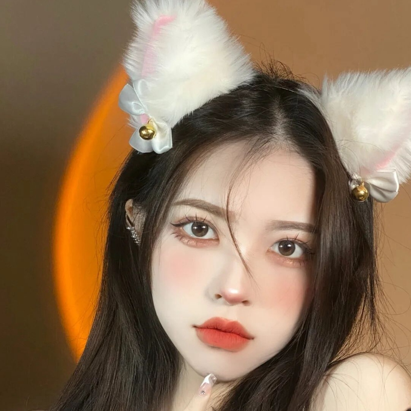 白色网红猫咪猫耳朵头饰猫耳发箍蝴蝶结发夹兽耳发卡发饰女夏仙女