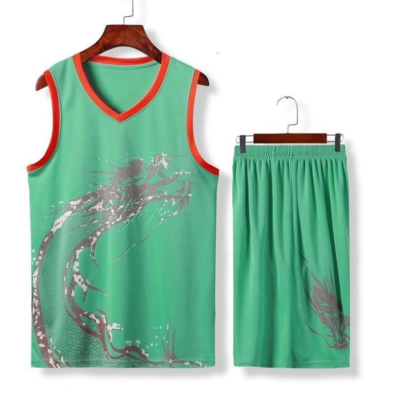 套装龙舟服装定制端午节彩色运动服龙纹休闲无袖训练服饰篮球衣