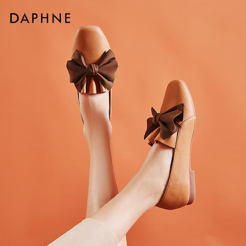 春季复古浅口百搭真皮方头奶奶鞋女 2020 达芙妮软皮单鞋女平底软底