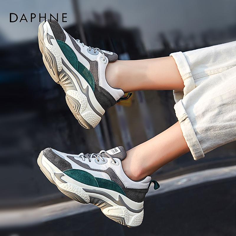 达芙妮2019冬季新款加绒运动鞋超火老爹鞋女百搭休闲鞋ins网红潮