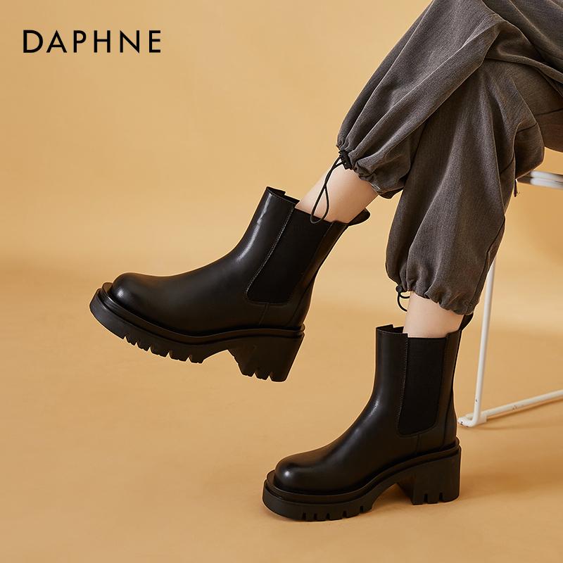 新款高跟短靴烟筒靴黑色瘦瘦靴 2021 达芙妮真皮切尔西靴女春秋单靴