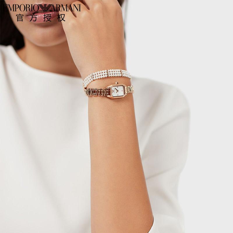 Armani阿玛尼手表女佟丽娅同款方形小表盘女表玫瑰金腕表AR11323