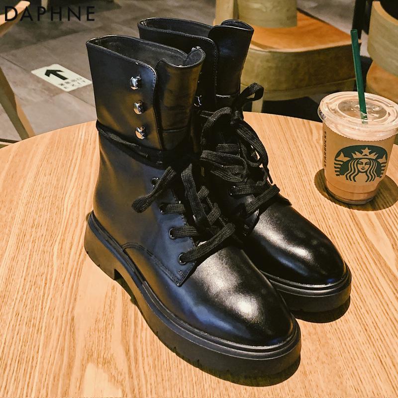 Daphne/达芙妮2019秋冬新款马丁靴加绒保暖百搭英伦风系带短筒靴