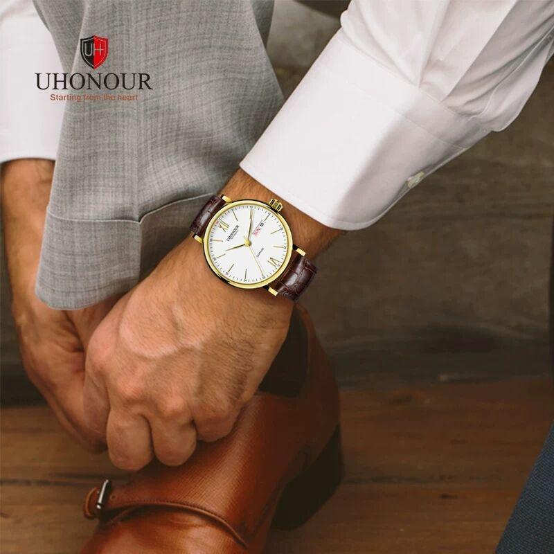 宇赫手表全自动防水多功能防水男士皮带手表男大表盘机械表男