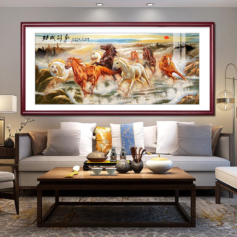 馬到成功國畫山水畫八駿圖客廳裝飾畫徐悲鴻奔馬圖辦公室風水壁畫
