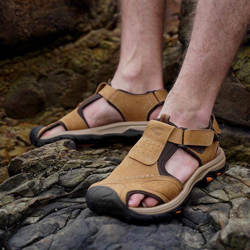 德国骆驼动感男鞋2020新款男士包头真皮凉鞋休闲户外爸爸沙滩鞋潮【图5】