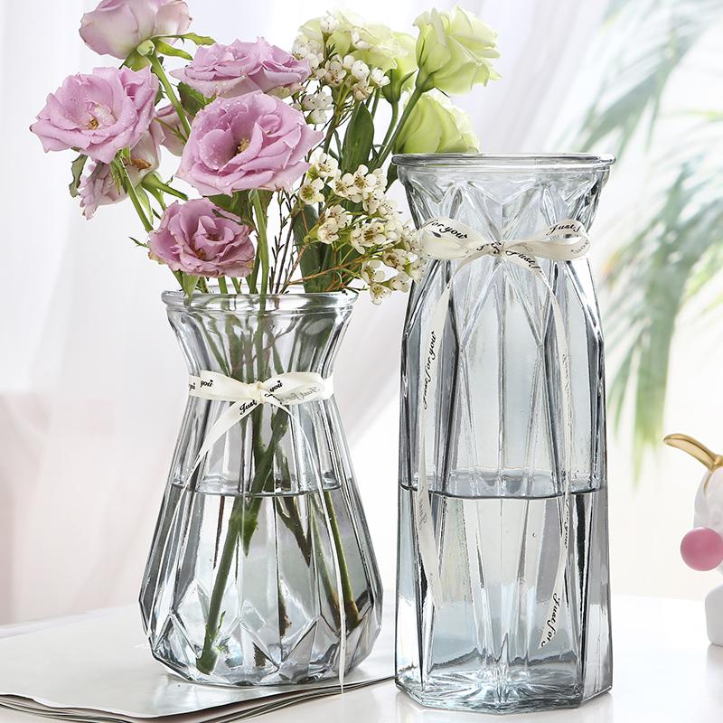 【两件套】北欧简约风创意玻璃花瓶透明水养鲜花百合插花花瓶摆件
