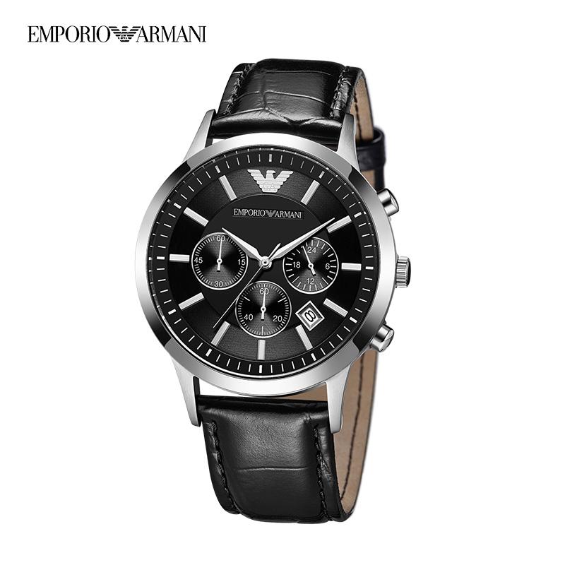 Armani官方阿玛尼黑色皮带手表男 多功能时尚防水男表AR2447正品