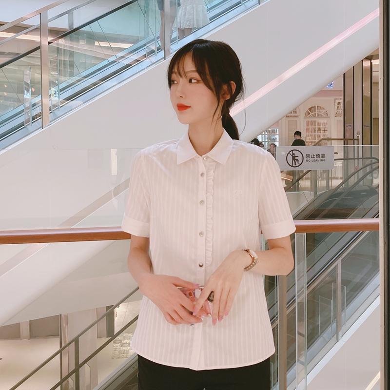 PRICH2020蓝白衬衫女士短袖衬衣工作职业气质显瘦竖条纹上衣夏季主图