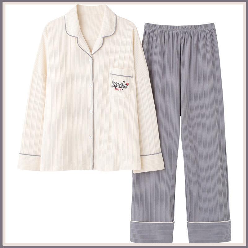 长袖睡衣女春秋季棉质韩版新款潮全棉冬季大码可外穿家居服