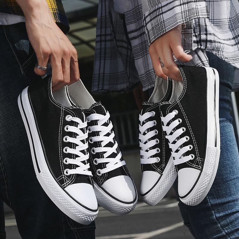 2021春夏新款潮流帆布鞋女时尚学生鞋系带小白鞋情侣款男鞋子休闲