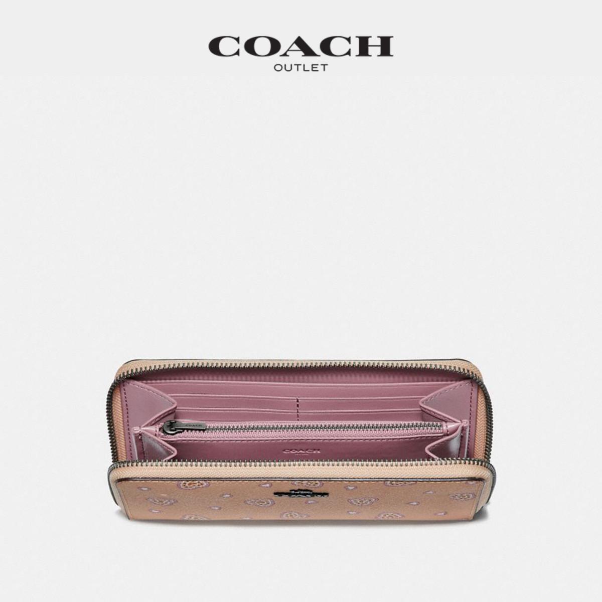 蔻驰女士经典休闲心形图案印花环绕式拉链手风琴长款钱包 COACH