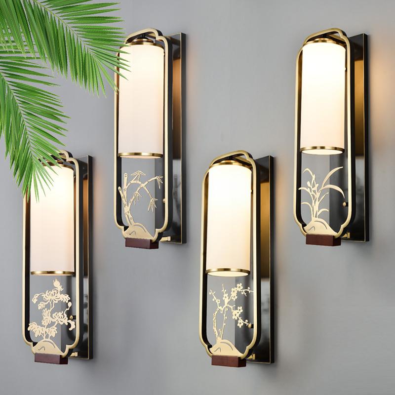 新中式全铜壁灯客厅轻奢复古创意简约别墅中国风梅兰竹菊过道壁灯