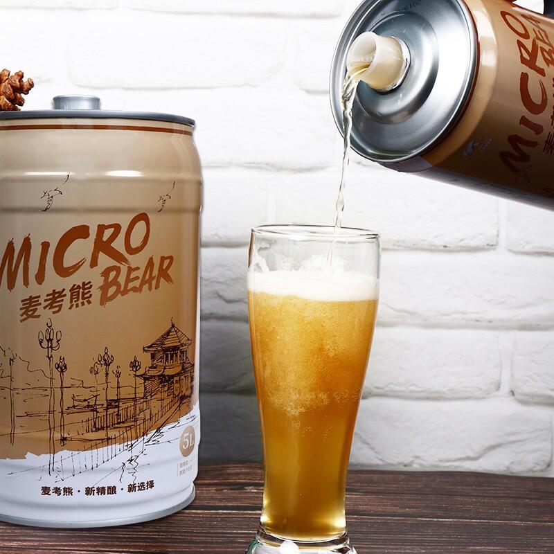 青岛特产 麦考熊 高麦芽浓度 精酿原浆黄啤 5L/10斤桶装 不兑水/不稀释