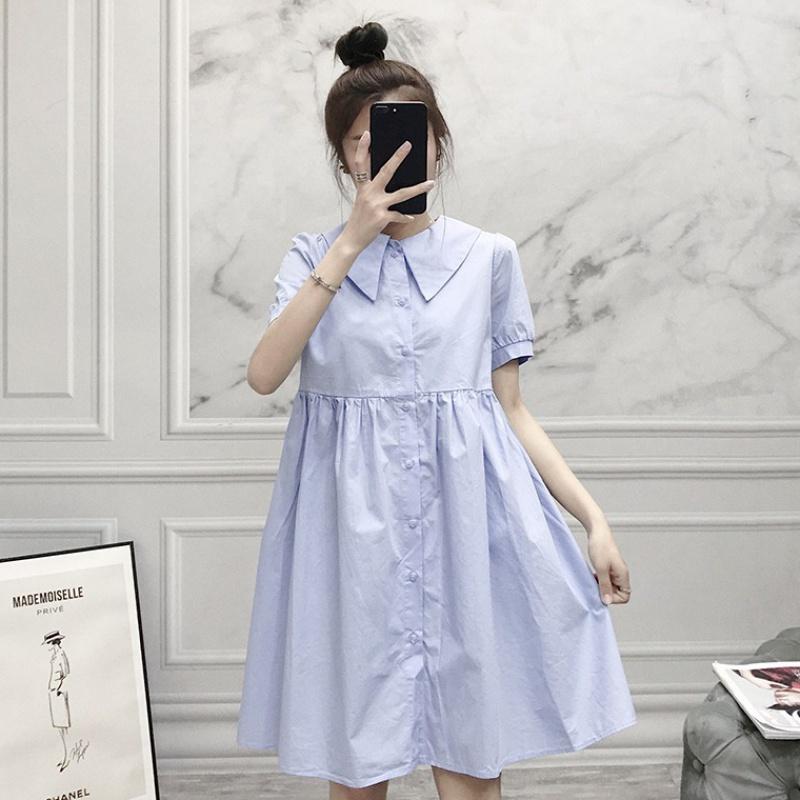 连衣裙女2020夏季新款韩版前后翻领宽松显瘦气质衬衫A字娃娃裙子【图2】