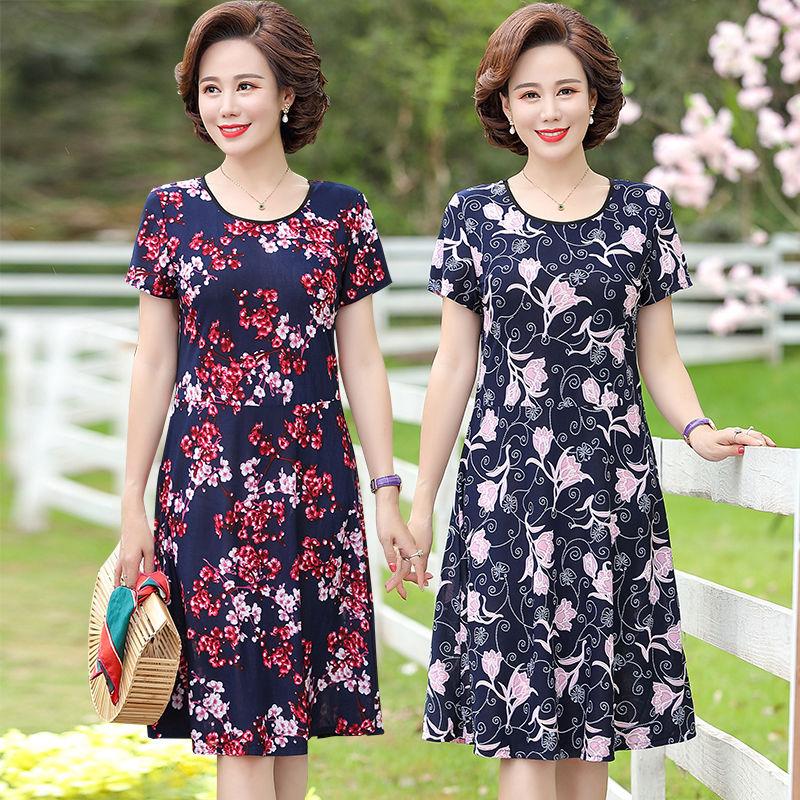 2020夏季新款中老年大码女装时尚连衣裙短袖妈妈装长裙显瘦裙子