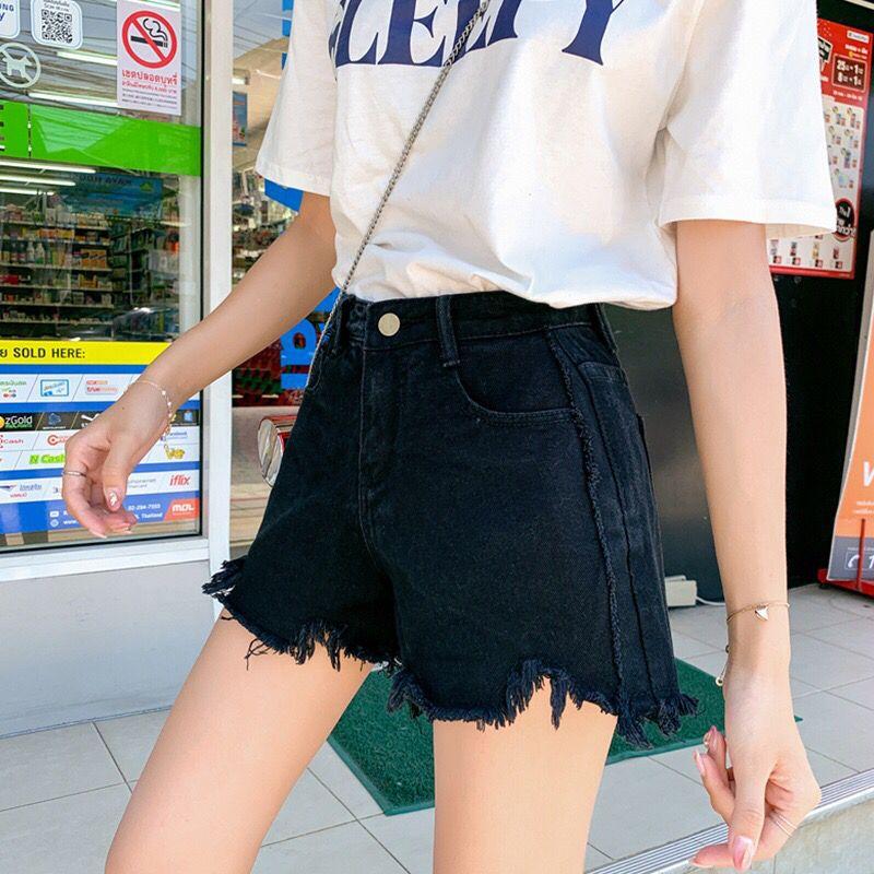 夏季新款韩版宽松不规则毛边热裤校园风含棉大码牛仔短裤女装 2020