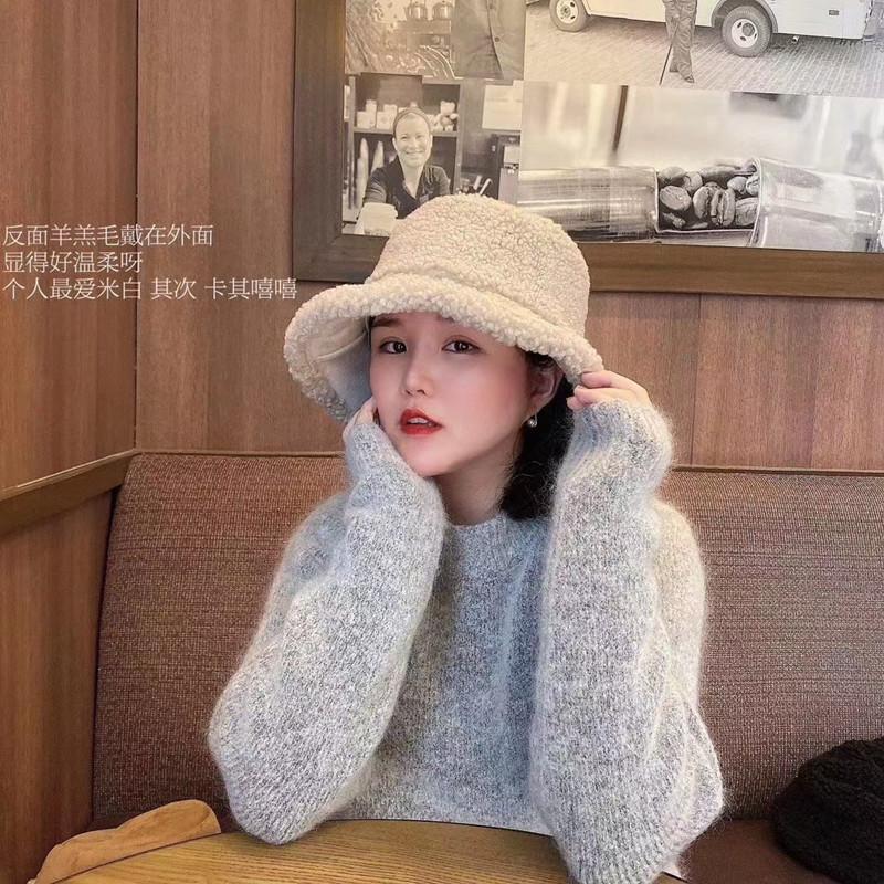 网红渔夫帽女冬天羊羔毛麂皮绒保暖双面戴