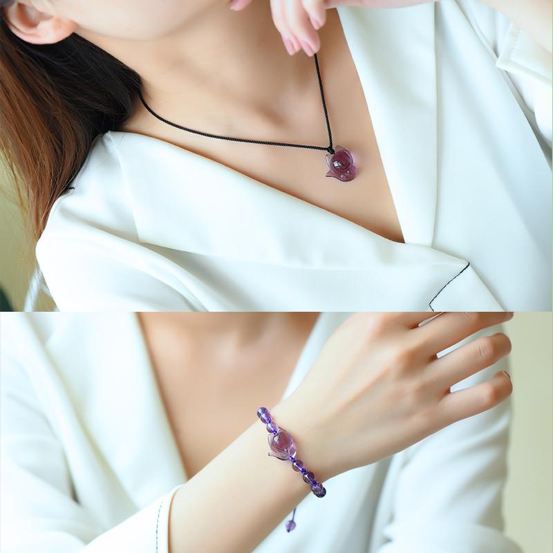 红绡天然紫水晶狐狸吊坠转运招桃花旺姻缘项链紫色小狐狸手链男女