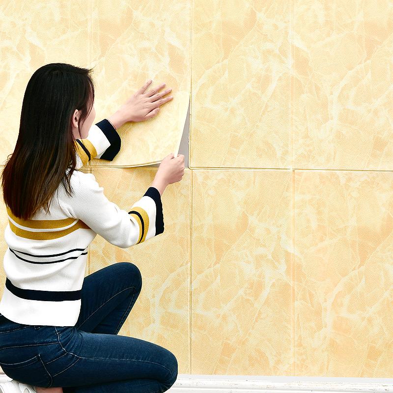 防水泡沫自粘贴纸卧室客厅天花板背景墙壁纸 3D 自贴大理石墙纸立体