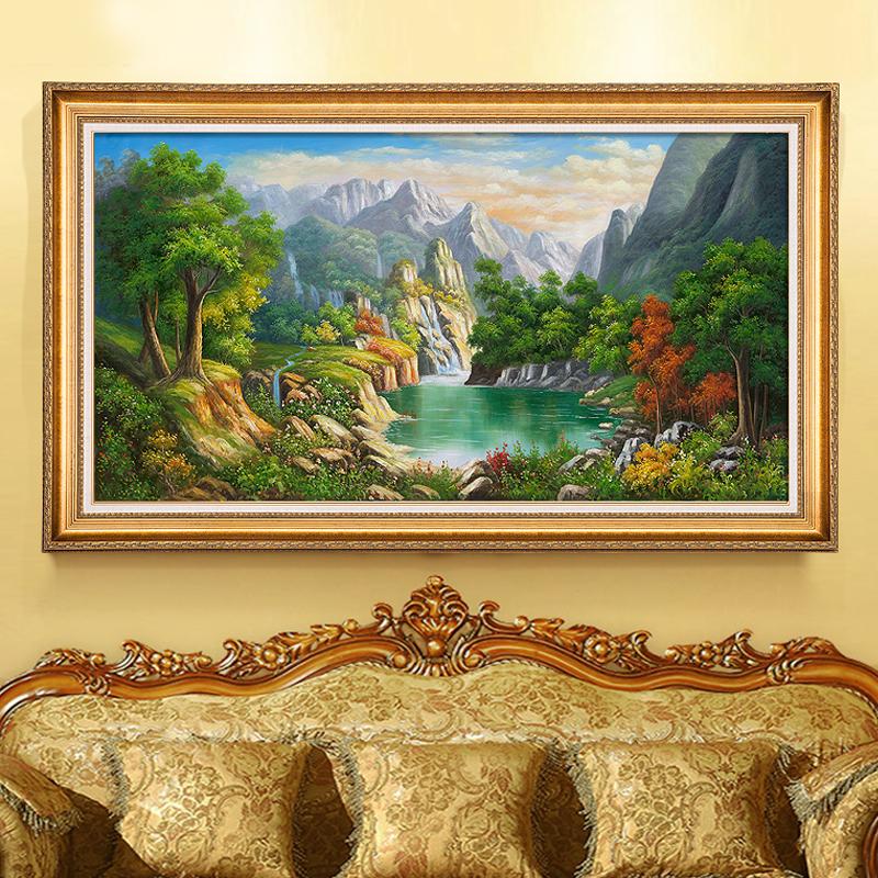 鎮宅之寶頂極聚寶盆油畫 風景山水手繪 紫氣東來客廳大幅裝飾掛畫