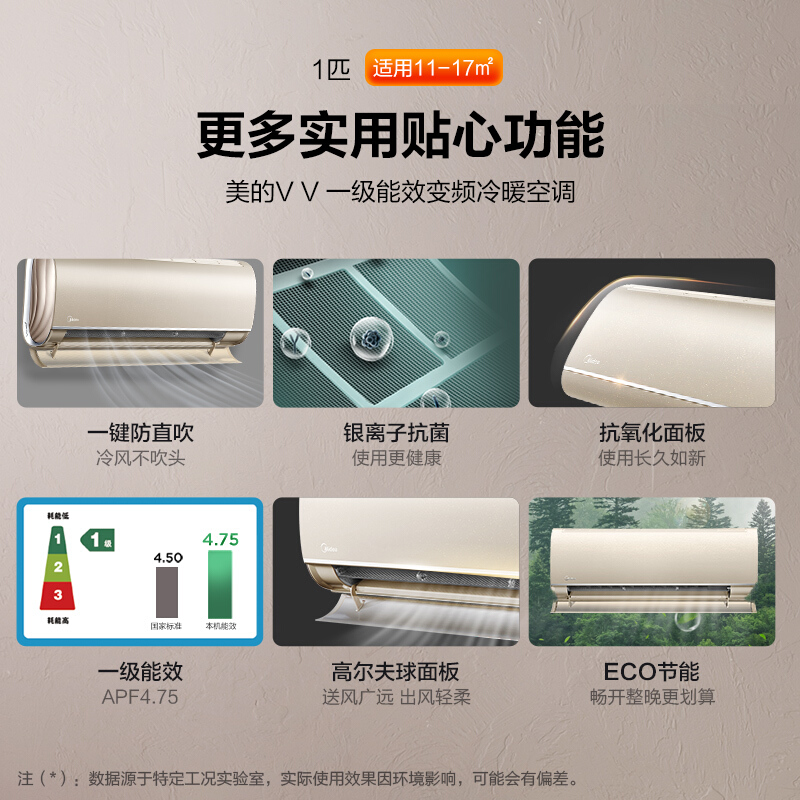 26VVN8B1E 匹一级变频冷暖挂机智能家用卧室壁挂式节能 1 空调大 美