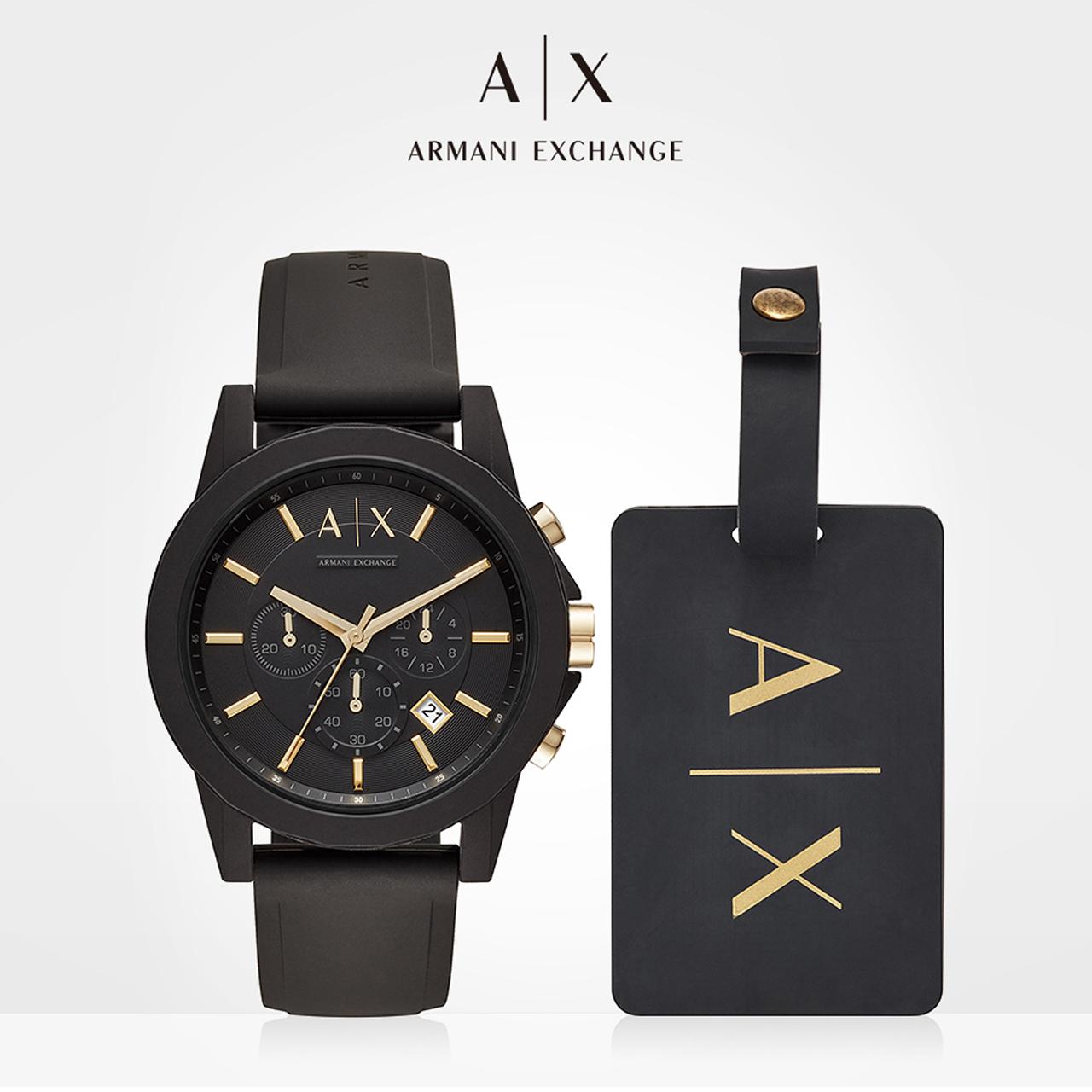 Armani阿玛尼官方旗舰店正品男士手表小黑盒黑武士十大品牌AX7105