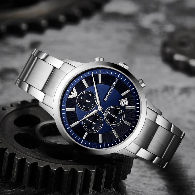 Armani阿玛尼正品手表男商务三眼蓝色表盘钢带石英手表AR11164