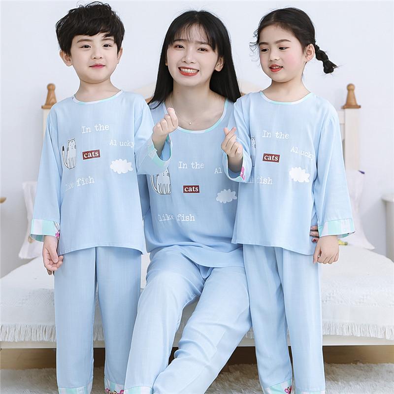 夏季儿童绵绸睡衣女童女孩亲子装母女装薄款宝宝小孩长袖棉绸套装