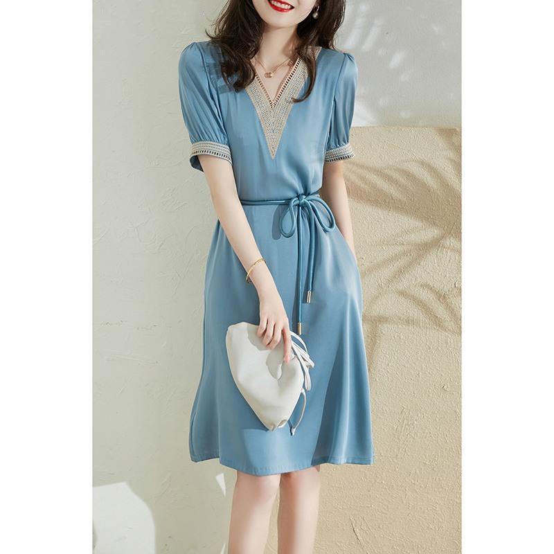 轻奢女装气质系带收腰显瘦高档连衣裙2021新款夏季短袖中长款裙子