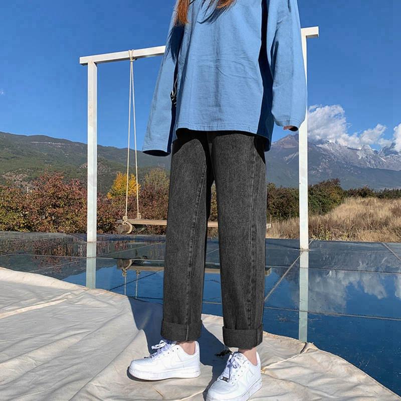 高腰直筒牛仔裤女装春夏新款韩版显瘦阔腿宽松垂感泫雅拖地长裤子
