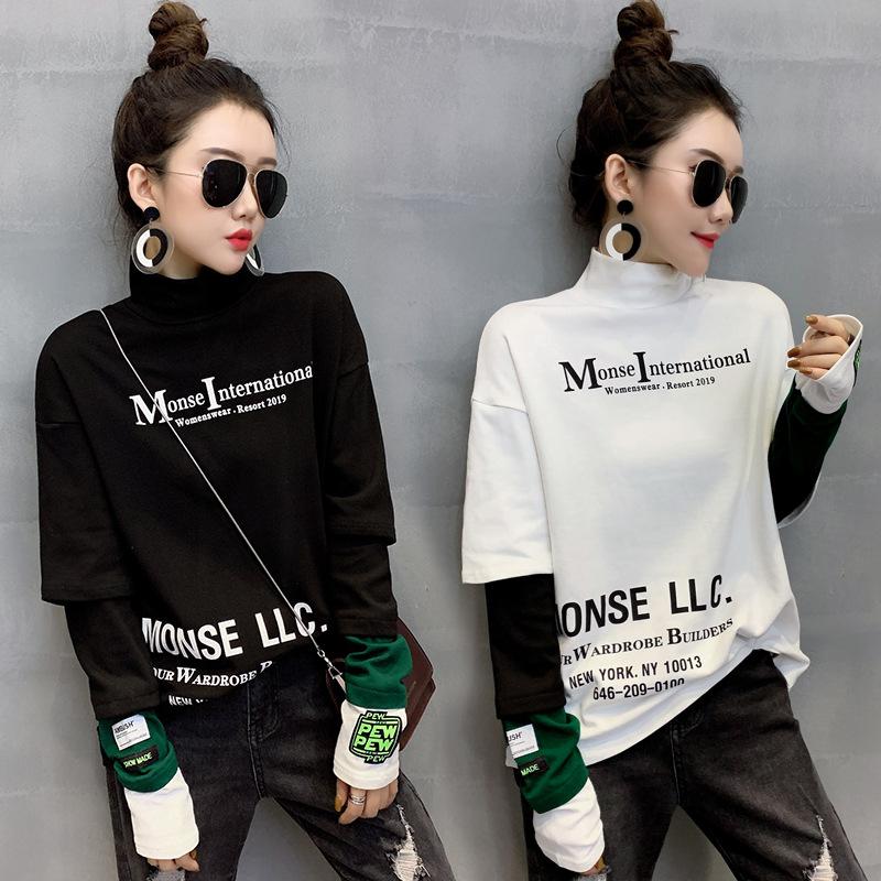 2020新款春秋装假两件长袖t恤女士宽松韩版秋衣外穿百搭上衣服潮