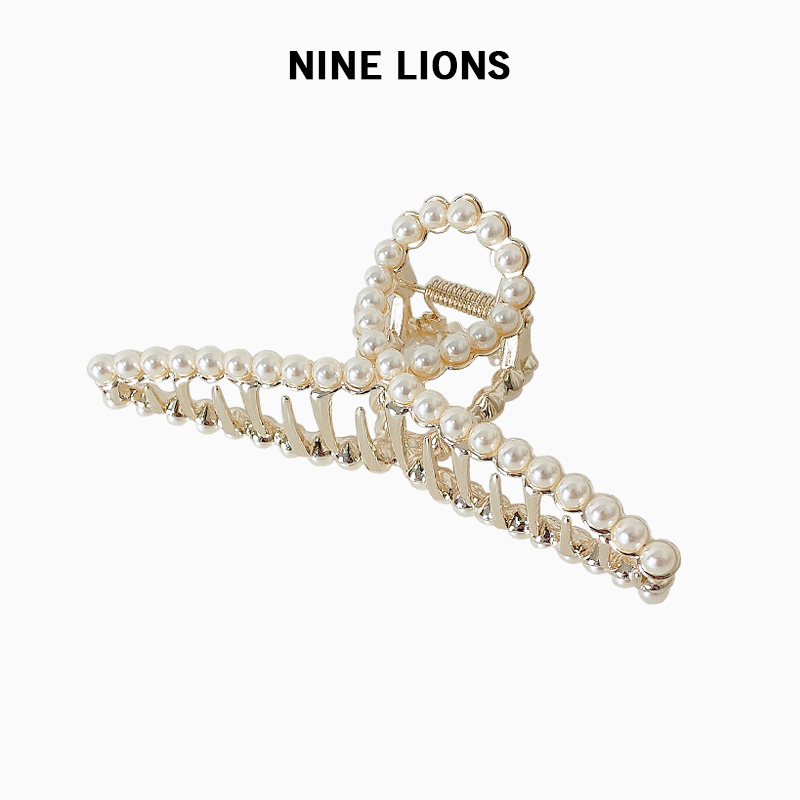九只狮子(饰品)网红新款金属珍珠抓夹边夹发饰简约后脑勺发夹女