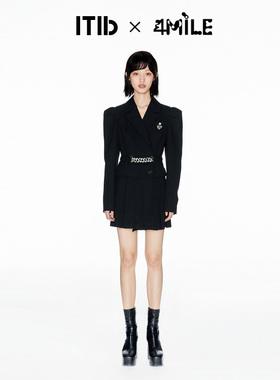 ITIB×4MILE设计师联名款 秋季新款链条长袖西装翻领连衣裙女